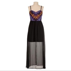 Maurices Black & Embroidered Bodice Maxi Dress